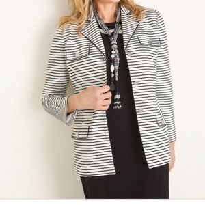 CHICO'S Black and White Striped Knit Jacket Size 0